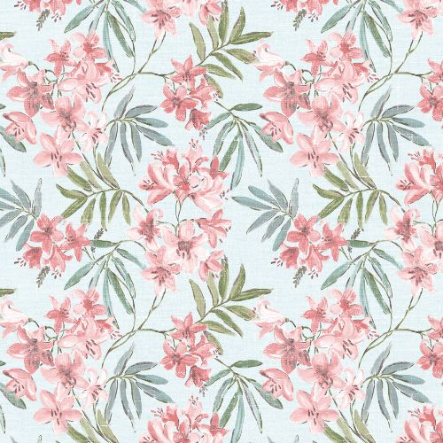 AF37725 Patton Wallcoverings Norwall Flourish Linen Floral Wallpaper Pink