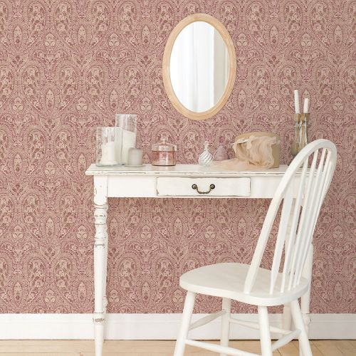 AF37727 Patton Wallcoverings Norwall Flourish Ornamental Wallpaper Plum Room Setting