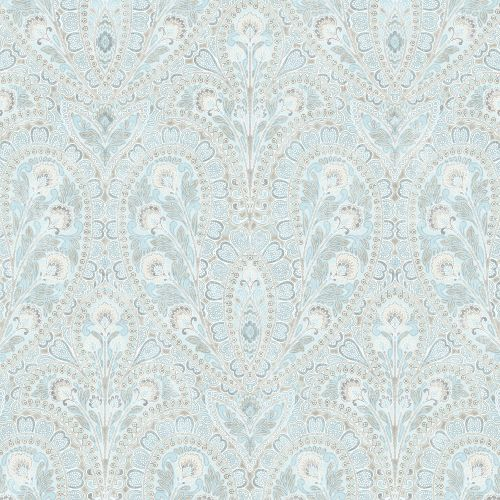 AF37728 Patton Wallcoverings Norwall Flourish Ornamental Wallpaper Blue