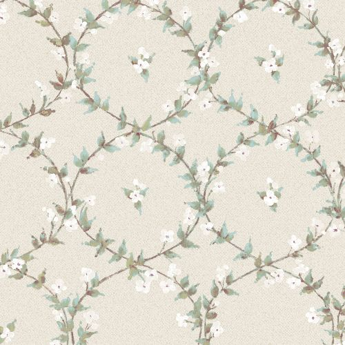 AF37745 Patton Wallcoverings Norwall Flourish Floral Laurel Wallpaper Blue