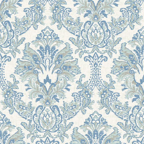 CL2504 York Wallcoverings Impressionist Bold Brocade Wallpaper Blue