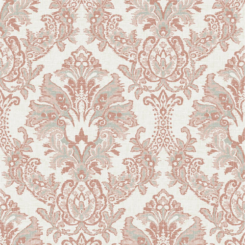 CL2505 York Wallcoverings Impressionist Bold Brocade Wallpaper Terracotta