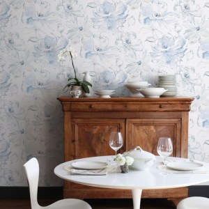 CL2519 York Wallcoverings Impresionist Floral Dreams Wallpaper Blue Room Setting
