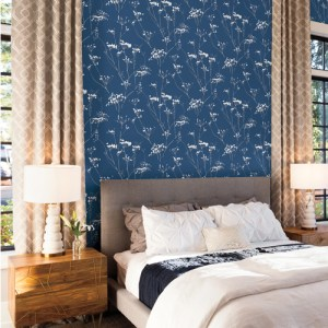 NA0600 York Wallcovering Candice Olson Botanical Dreams Enchanted Wallpaper Blue Room Setting
