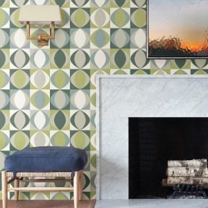 2903-25845 Brewster Wallcoverings A Street Prints Bluebell Archer Linen Geometric Wallpaper Green Room Setting