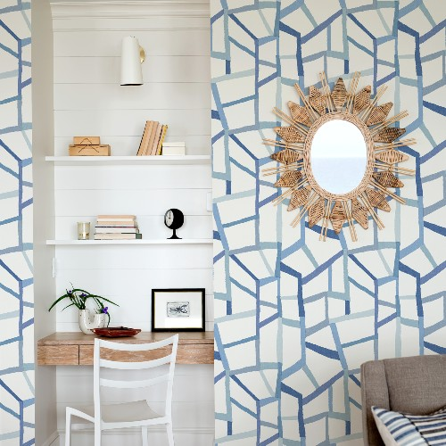 2903-25849 Brewster Wallcoverings A Street Prints Bluebell Tate Geometric Linen Wallpaper Blue Room Setting