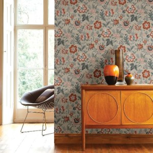 2948-28001 Brewster Wallcoverings A Street Prints Athena Floral Wallpaper Beige Room Setting