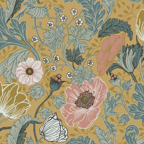 2948-33002 Brewster Wallcoverings A Street Prints Anemone Floral Wallpaper Mustard
