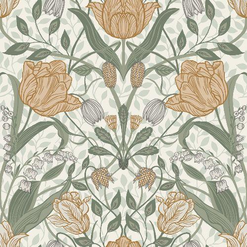 2948-33006 Brewster Wallcoverings A Street Prints Spring Tulipa Floral Wallpaper Green