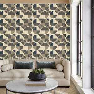 GM7523 York Wallcoverings Geometric Resource Radius Wallpaper Black Room Setting