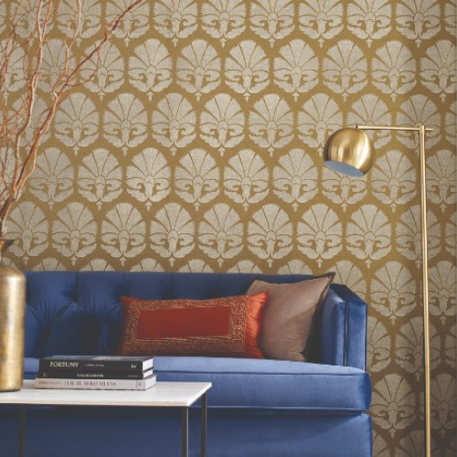 HC7575 York Wallcoverings Ronald Redding Handcrafted Naturals Ottoman Fans Wallpaper Gold Room Setting