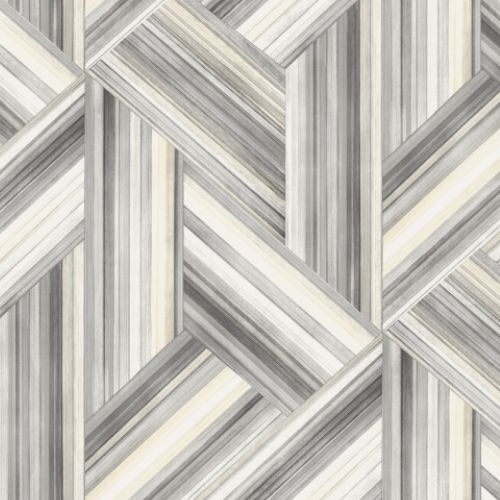 LW50108 Seabrook Wallcoverings Living With Art Woven Geometric Wallpaper Grey