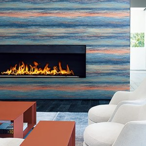 LW50406 Seabrook Wallcoverings Living With Art Rustic Horizon Wallpaper Orange Room Setting