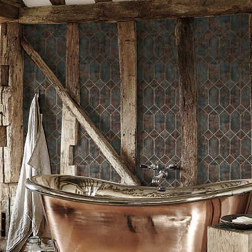 LW51606 Seabrook Wallcoverings Living With Art Industrial Trellis Wallpaper Brown Room Setting
