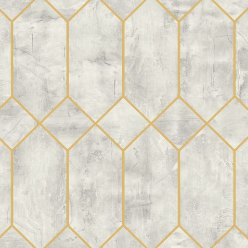 LW51610 Seabrook Wallcoverings Living With Art Industrial Trellis Wallpaper Pale Grey