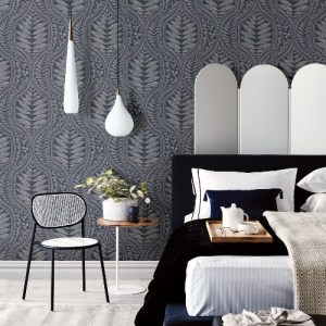 2964-25953 Brewster Wallcoverings A Street Prints Scott Living Juno Ogee Wallpaper Indigo Room Setting