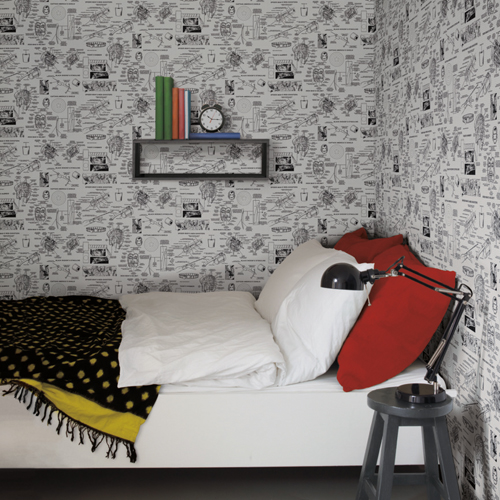 DI0936 York Wallcoverings Disney Kids 4 Marvel Heroes Schematics Wallpaper Grey Room Setting