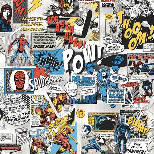 DI0944 York Wallcoverings Disney Kids 4 Marvel Comics Pow Wallpaper Multi-Color