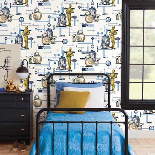 DI0948 York Wallcoverings Disney Kids 4 Rise of Skywalker Droids Wallpaper Blue Room Setting