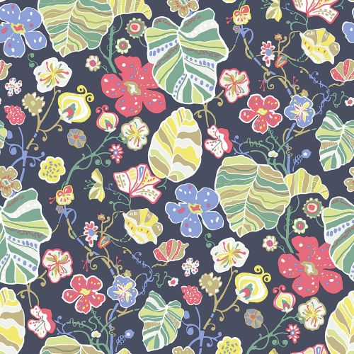 2903-25809 Brewster Wallcoverings A Street Prints Bluebell Gwyneth Floral Wallpaper Navy