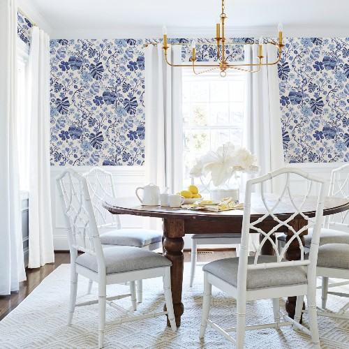 2903-25810 Brewster Wallcoverings A Street Prints Bluebell Gwyneth Floral Wallpaper Indigo Room Setting