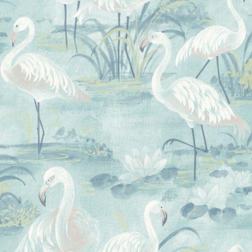 3120-13604 Brewster Wallcoverings Chesapeake Sanibel Sun Kissed Collection Everglades Flamingos Wallpaper Aqua