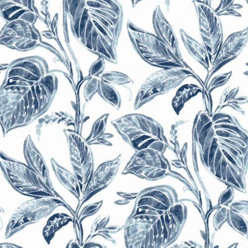 3120-13625 Brewster Wallcoverings Chesapeake Sanibell Sun Kissed Collection Mangrove Botanical Wallpaper Blue