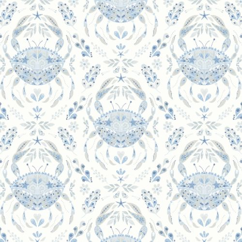 3120-13644 Brewster Wallcoverings Chesapeake Sanibel Sunk Kissed Collection Annapolis Crustation Wallpaper Light Blue
