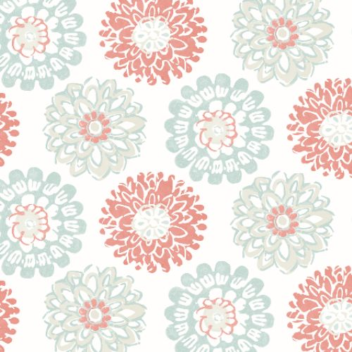 3120-13701 Brewster Wallcoverings Chesapeake Sanibel Sun Kissed Collection Sunkissed Floral Wallpaper Coral