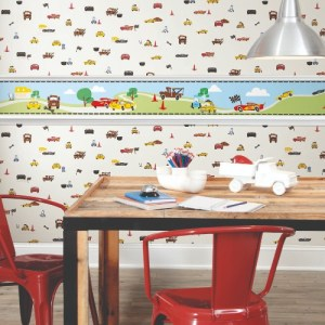 DI0919BD-DI0921 York Wallcoverings Disney Kids 4 Disney and Pixar Cars Border Light Blue and Disney and Pixar Cars Racing Spot Wallpaper White Room Setting
