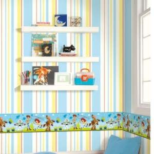 DI1018BD York Wallcoverings Disney Kids 4 Disney Pixar and Toy Story 4 Border Green Room Setting