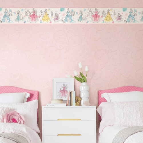 DI1021BD York Wallcoverings Disney Kids 4 Disney Princess Pretty Elegant Border Pink Room Setting