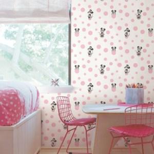 DI1027 York Wallcoverings Disney Kids 4 Disney Minnie Mouse Dots Wallpaper Pink Room Setting