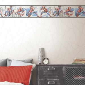 DI1030BD-DI0941 York Wallcoverings Disney Kids 4 Spider-Man Fracture Border Red and S.M. Fracture Wallpaper Grey Room Setting