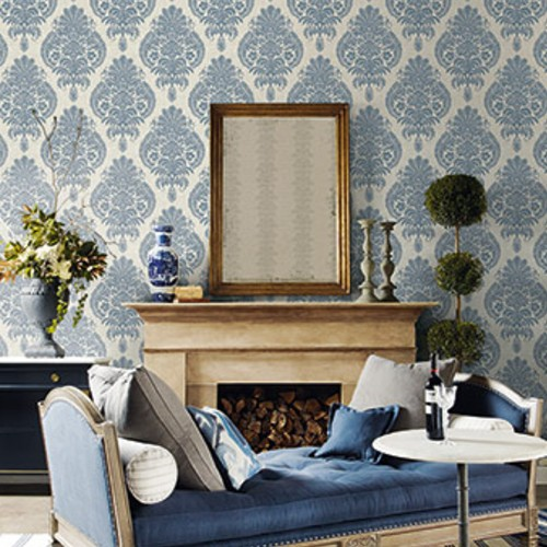 LN10402 Seabrook Wallcoverings Lillian August Luxe Retreat Antigua Damask Wallpaper Air Force Blue Room Setting