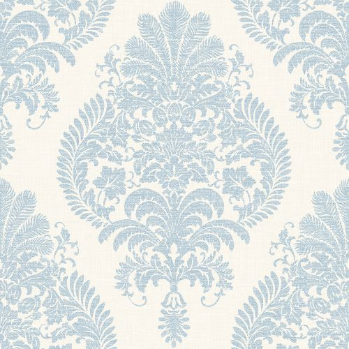 LN10412 Seabrook Wallcoverings Lillian August Luxe Retreat Antigua Damask Wallpaper Blue Frost
