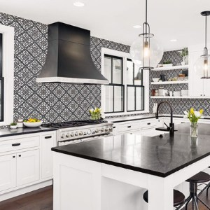LN11000 Seabrook Wallcoverings Lillian August Plumosa Tile Wallpaper Ebony Room Setting
