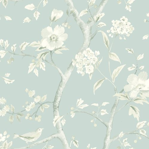 LN11122 Seabrook Wallcoverings Lillian August Luxe Retreat Southport Floral Trail Wallpaper Blue Frost