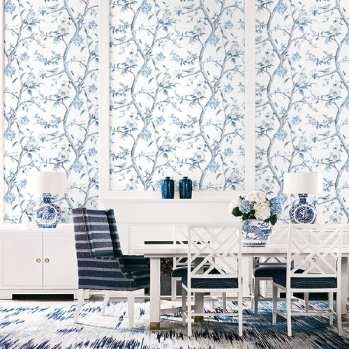 LN11102 Seabrook Wallcoverings Lillian August Luxe Retreat Southport Floral Trail Wallpaper Blue Shale Room Setting