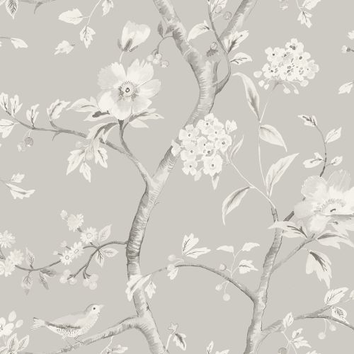 LN11108 Seabrook Wallcoverings Lillian August Luxe Retreat Southport Floral Trail Wallpaper Fog