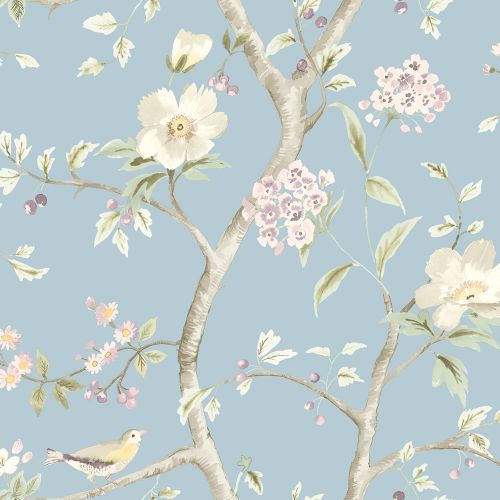 LN11112 Seabrook Wallcoverings Lillian August Luxe Retreat Southport Floral Trail Wallpaper Sky Blue