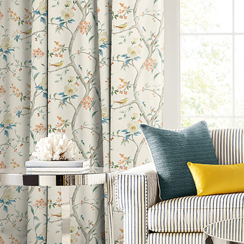 LN11901F Seabrook Wallcoverings Lillian August Luxe Retreat Southport Floral Trail Fabric Melon and Carolina Blue