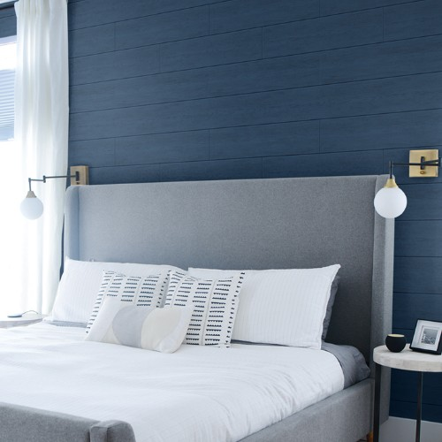 AX10902 Seabrook Wallcoverings NextWall Shiplap Peel and Stick Wallpaper Coastal Blue Room Setting