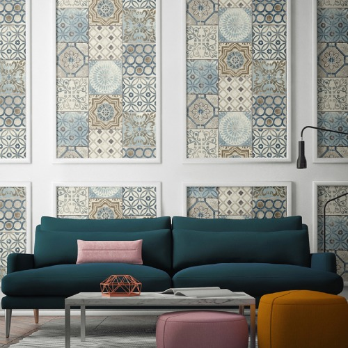 NW30002 Seabrook Wallcoverings NextWall Moroccan Tile Peel and Stick Wallpaper Multi-Color Room Setting