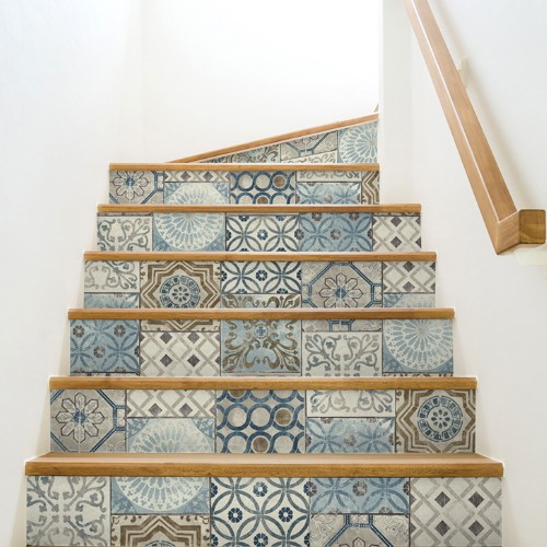 NW30002 Seabrook Wallcoverings NextWall Moroccan Tile Peel and Stick Wallpaper Multi-Color Stair Close Up