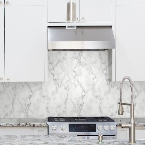 NW30400 Seabrook Wallcoverings NextWall Faux Marble Peel and Stick Wallpaper White Kitchen Close Up