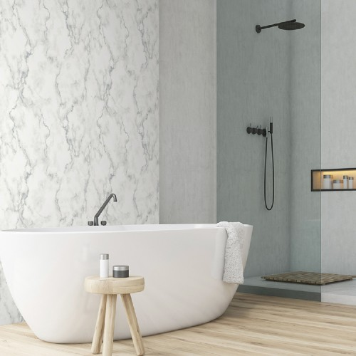 NW30400 Seabrook Wallcoverings NextWall Faux Marble Peel and Stick Wallpaper White Room Setting