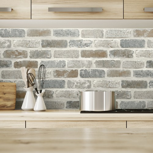 NW30500 Seabrook Wallcoverings NextWall Washed Brick Peel and Stick Wallpaper Neutral Kitchen Close Up