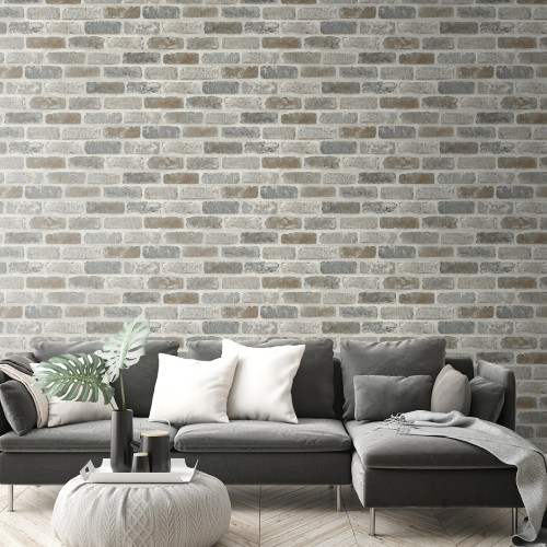 NW30500 Seabrook Wallcoverings NextWall Washed Brick Peel and Stick Wallpaper Neutral Room Setting