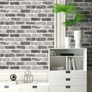 NW30510 Seabrook Wallcoverings NextWall Washed Brick Peel and Stick Wallpaper Grey Room Setting
